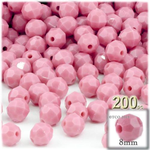 Plastic Faceted Beads, Opaque, 8mm, 200-pc, Pink