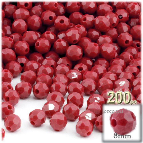 Plastic Faceted Beads, Opaque, 8mm, 200-pc, Red