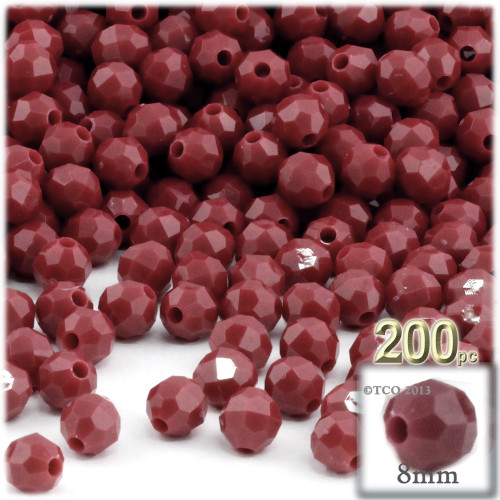 Plastic Faceted Beads, Opaque, 8mm, 200-pc, Burgundy