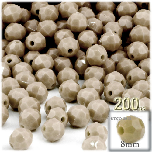 Plastic Faceted Beads, Opaque, 8mm, 200-pc, Tan