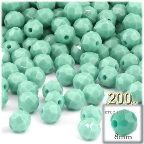 Plastic Faceted Beads, Opaque, 8mm, 200-pc, Turquoise