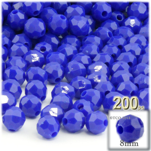 Plastic Faceted Beads, Opaque, 8mm, 200-pc, Royal Blue