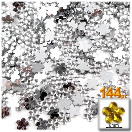 Rhinestones, Flatback, Flower, 6mm, 144-pc, Clear