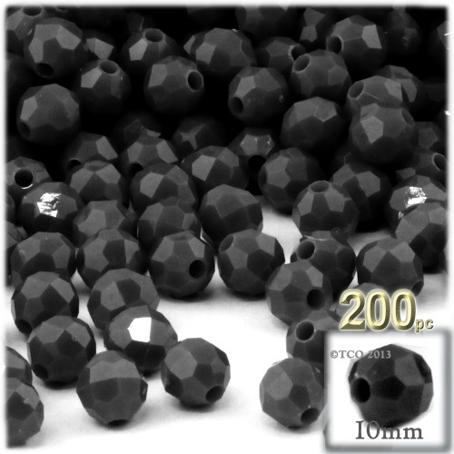 Plastic Faceted Beads, Opaque, 10mm, 100-pc, Black