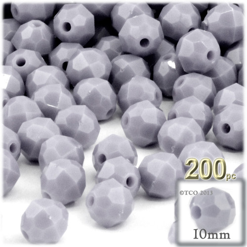 Plastic Faceted Beads, Opaque, 10mm, 100-pc, Gray