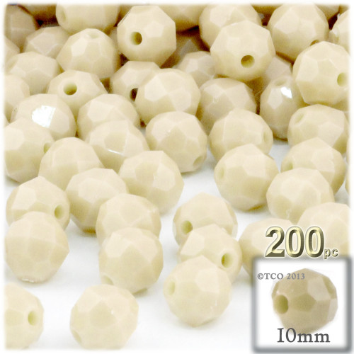 Plastic Faceted Beads, Opaque, 10mm, 100-pc, Ivory