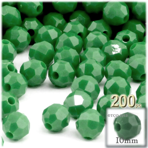 Plastic Faceted Beads, Opaque, 10mm, 100-pc, Emerald green