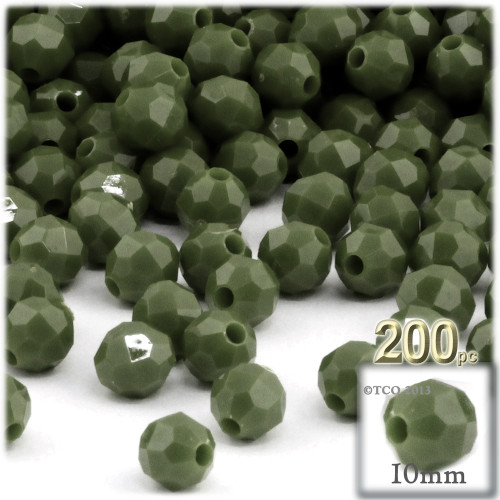 Plastic Faceted Beads, Opaque, 10mm, 100-pc, Army Green