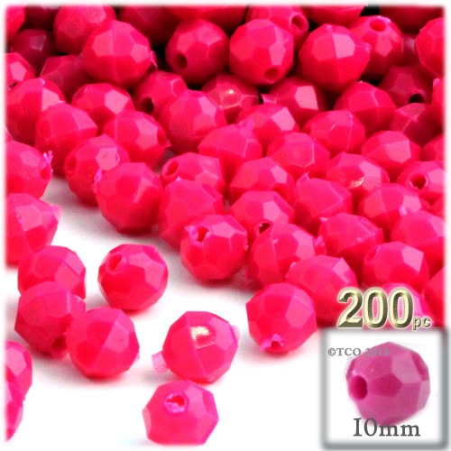 Plastic Faceted Beads, Opaque, 10mm, 100-pc, Hot Pink