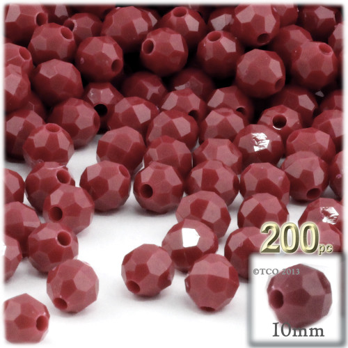 Plastic Faceted Beads, Opaque, 10mm, 100-pc, Burgundy