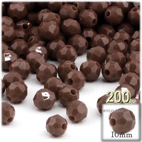 Plastic Faceted Beads, Opaque, 10mm, 100-pc, Brown