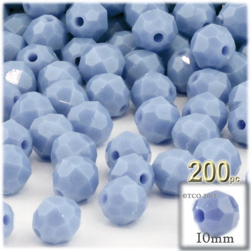 Plastic Faceted Beads, Opaque, 10mm, 100-pc, Light Baby blue
