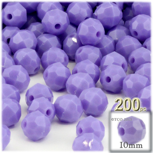 Plastic Faceted Beads, Opaque, 10mm, 100-pc, Lavender Purple
