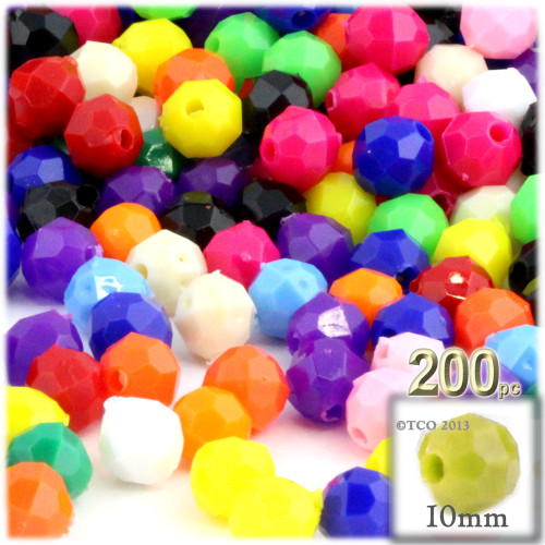 Plastic Faceted Beads, Opaque, 10mm, 100-pc, Multi Mix (Mix of all available colors)