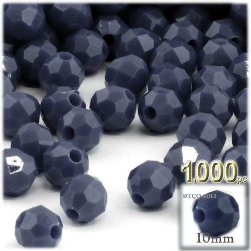 Plastic Faceted Beads, Opaque, 10mm, 1,000-pc, Navy Blue