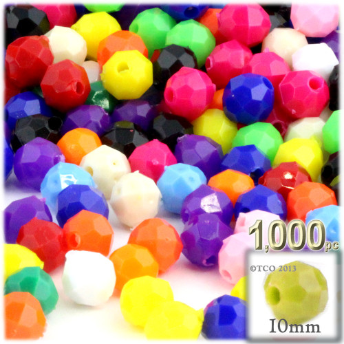 Plastic Faceted Beads, Opaque, 10mm, 1,000-pc, Multi Mix (Mix of all available colors)