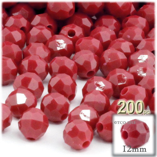 Plastic Faceted Beads, Opaque, 12mm, 100-pc, Red