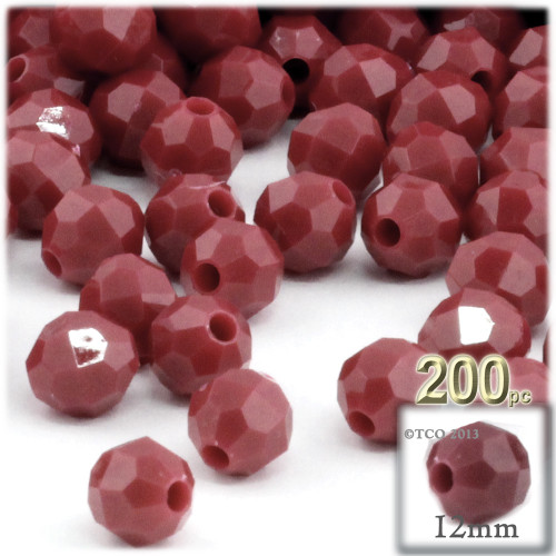 Plastic Faceted Beads, Opaque, 12mm, 100-pc, Burgundy
