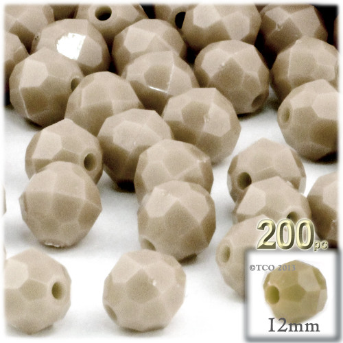 Plastic Faceted Beads, Opaque, 12mm, 100-pc, Tan