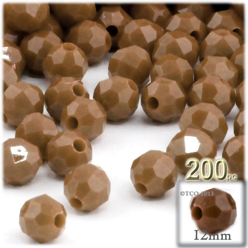 Plastic Faceted Beads, Opaque, 12mm, 100-pc, Light Brown