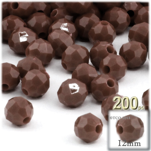 Plastic Faceted Beads, Opaque, 12mm, 100-pc, Brown