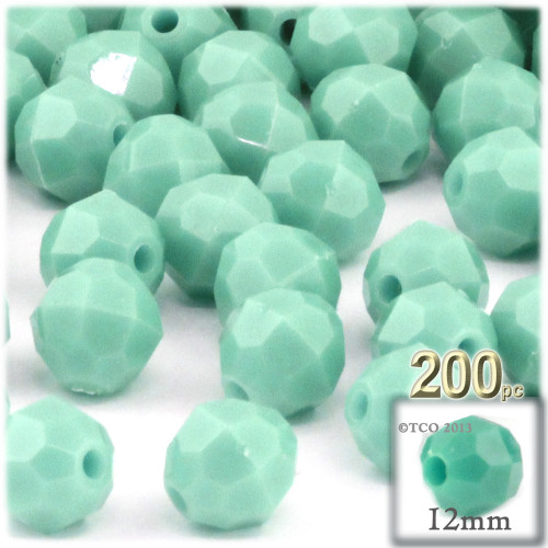 Plastic Faceted Beads, Opaque, 12mm, 100-pc, Turquoise
