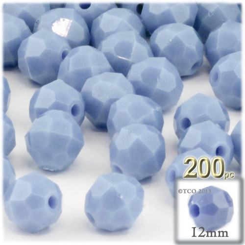 Plastic Faceted Beads, Opaque, 12mm, 100-pc, Light Baby blue