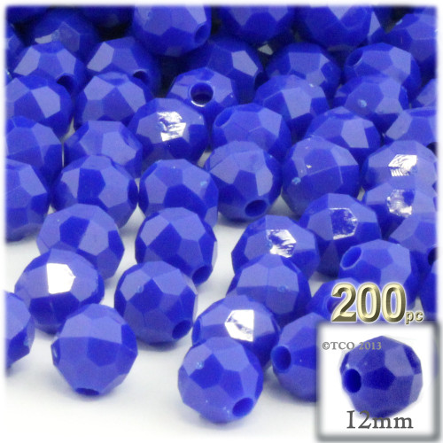 Plastic Faceted Beads, Opaque, 12mm, 100-pc, Royal Blue