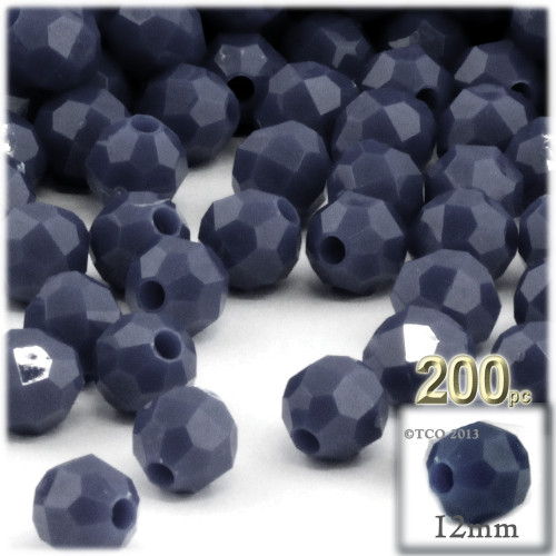 Plastic Faceted Beads, Opaque, 12mm, 100-pc, Navy Blue