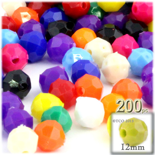 Plastic Faceted Beads, Opaque, 12mm, 100-pc, Multi Mix (Mix of all available colors)