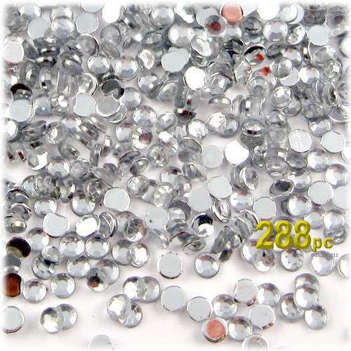 Rhinestones, Flatback, Round, 4mm, 288-pc, Clear