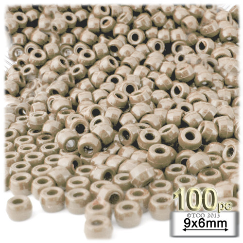 Pony Beads, Opaque, 6x9mm, 100-pc, Tan