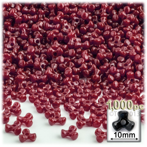 Tribeads, Opaque, Tribead, 10mm, 1,000-pc, Burgundy