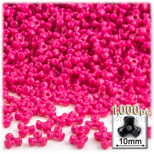 Plastic Tri-Bead, Opaque, 11mm, 1,000-pc, Hot Pink BDS-10TRB-OPQ-HPK-1K 7567