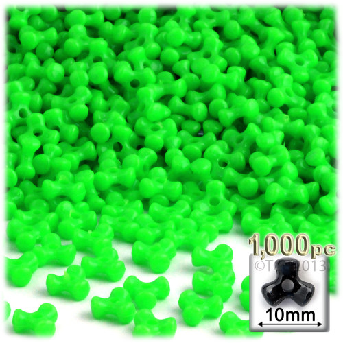 Tribeads, Opaque, Tribead, 10mm, 1,000-pc, Light Green