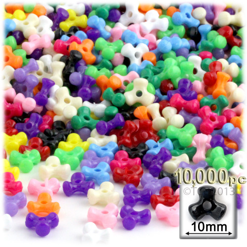 Tribeads, Opaque, Tribead, 10mm, 10,000-pc, Multi Mix