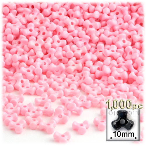 Tribeads, Opaque, Tribead, 10mm, 1,000-pc, Pink
