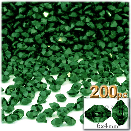 Plastic Rondelle Beads, Opaque, 6mm, 200-pc, Emerald Green