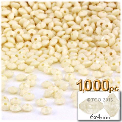 Plastic Rondelle Beads, Opaque, 6mm, 200-pc, Ivoy