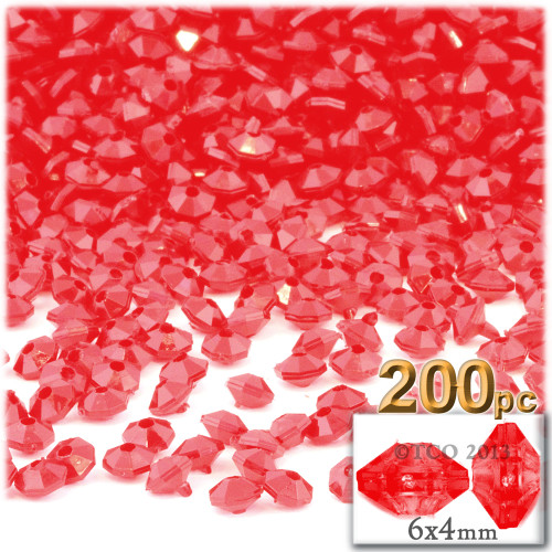 Plastic Rondelle Beads, Opaque, 6mm, 200-pc, Red