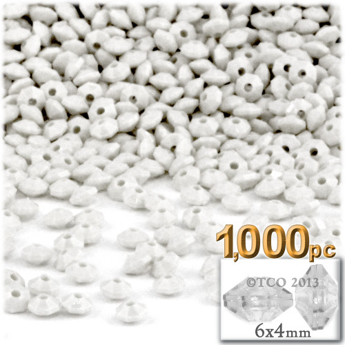 Plastic Rondelle Beads, Opaque, 6mm, 200-pc, White