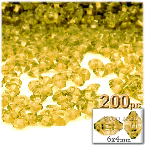 Plastic Rondelle Beads, Transparent, 6mm, 200-pc, Acid Yellow