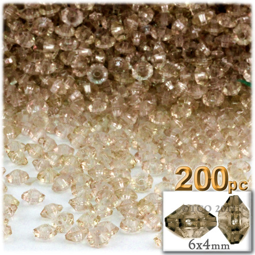 Plastic Rondelle Beads, Transparent, 6mm, 200-pc, Champagne