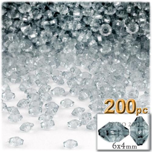 Plastic Rondelle Beads, Transparent, 6mm, 200-pc, Clear