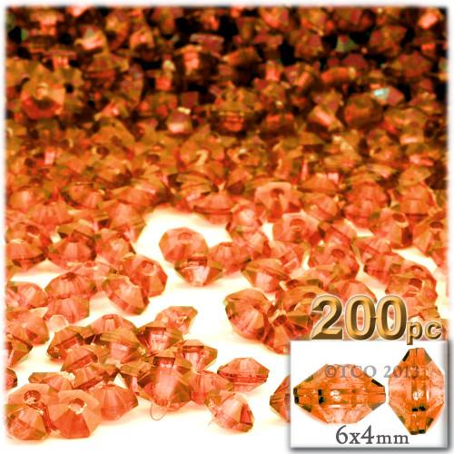 Plastic Rondelle Beads, Transparent, 6mm, 200-pc, Orange