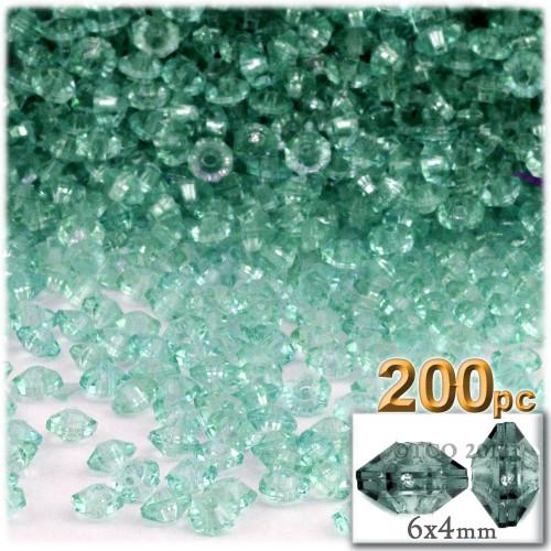 Plastic Rondelle Beads, Transparent, 6mm, 200-pc, Sea Mist