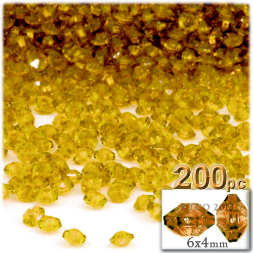 Plastic Rondelle Beads, Transparent, 6mm, 200-pc, Sun Yellow
