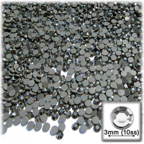 Rhinestones, Hotfix, DMC, Glass Rhinestone, 3mm, 144-pc, Charcoal Gray (Jet Hematite)