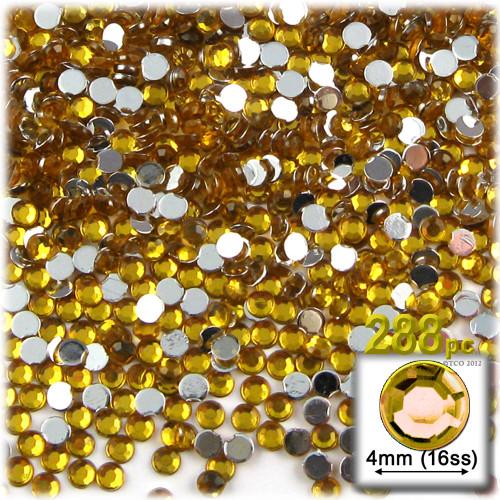 Rhinestones, Flatback, Round, 4mm, 288-pc, Golden Yellow
