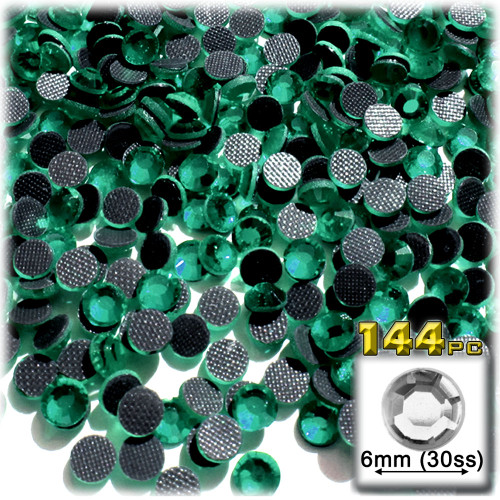 Rhinestones, Hotfix, DMC, Glass Rhinestone, 6mm, 144-pc, Emerald Green